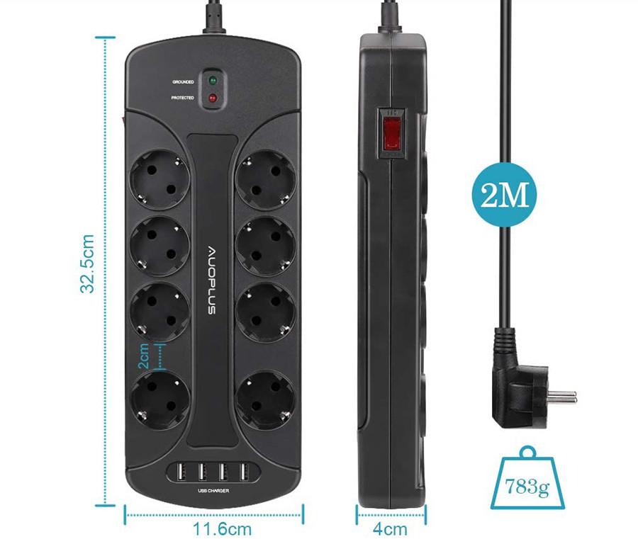 Auoplus Multiprise Parasurtenseur Parafoudre avec 8 Prises et 4 Ports USB