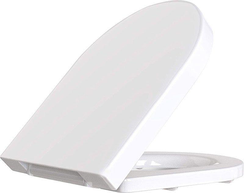 Avis - Cosondo Abattant pour wc en Forme de D, frein de chute réducteur de bruit couvercle amovible facile à démonter, antibactériennes cuvette WC standard lunette de toilette, blanc, Démontage Rapide