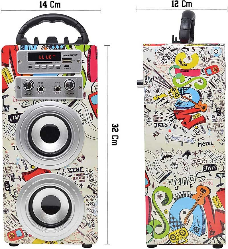 Avis Dynasonic - Enceinte Bluetooth Portable karaoké hautparleur - Modèle 025-2
