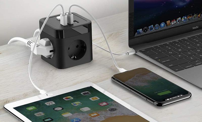 Avis JSVER Cube Multiprise USB 3 Prises avec 3 Ports USB Chargeur de Voyage