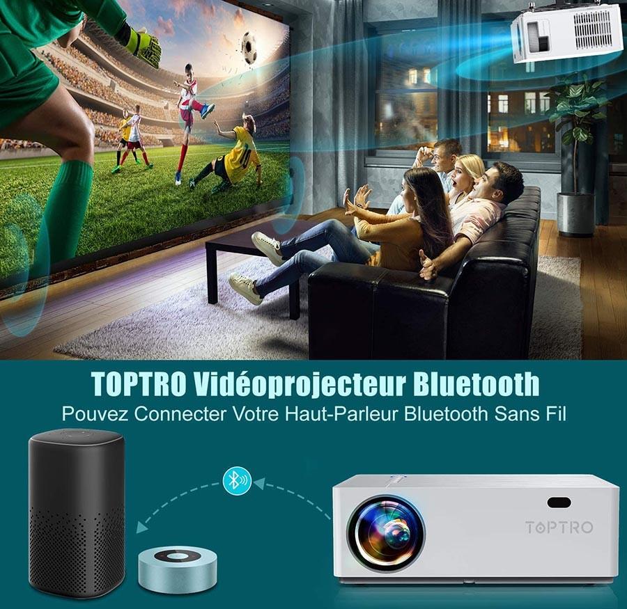 Avis TOPTRO Vidéoprojecteur Bluetooth 7100 LM Projecteur Full HD 1080P