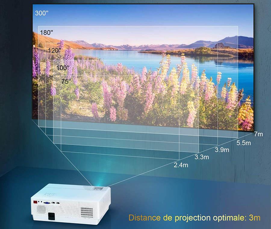 Avis Vidéoprojecteur WiMiUS 7000 Lumens Vidéoprojecteur Full HD 1080P Rétroprojecteur 4K Soutien