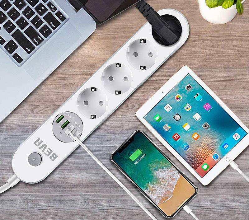 BEVA Multiprise USB Multiprise Parafoudre Parasurtenseur 4 Prises avec 4 Prises USB
