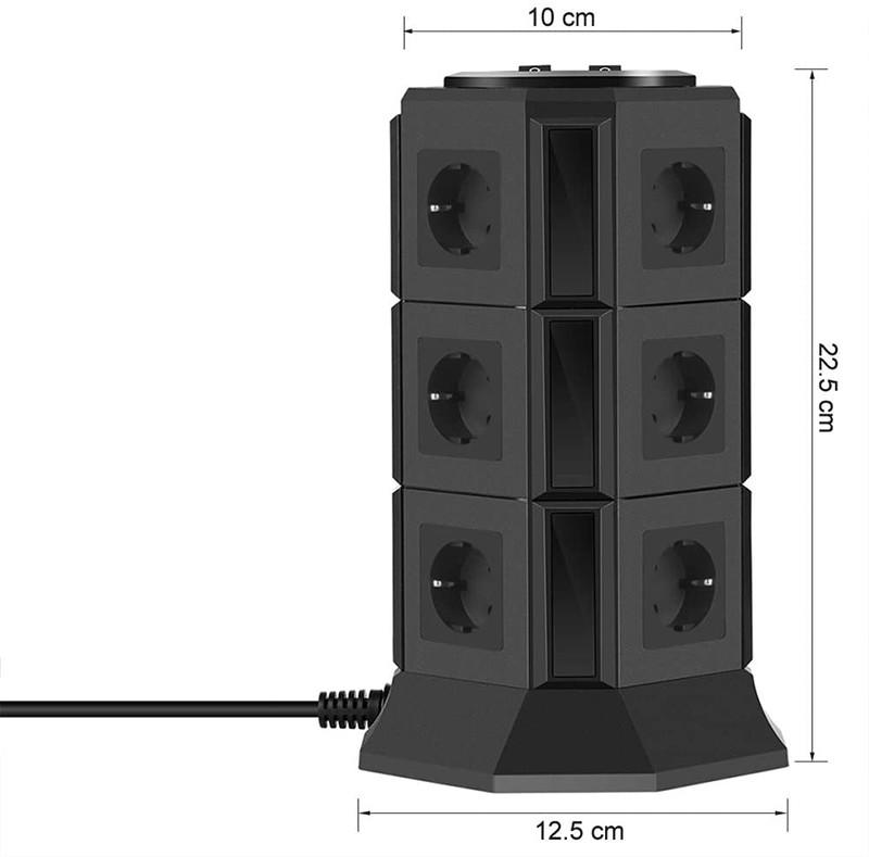 BEVA Tour Multiprise Parasurtenseur Parafoudre avec 12 Prises et 5 USB
