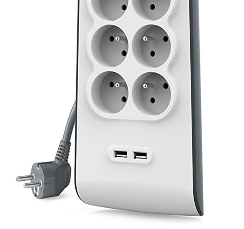 Belkin - BSV804ca2M - Multiprise Parafoudre 8 Prises avec 2 Ports USB - Cordon de 2m