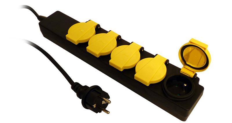 Bloc Étanche IP44 5 Prises 16A 2P+T avec Clapets - Câble HO5RRF 3G1 de 1,5m