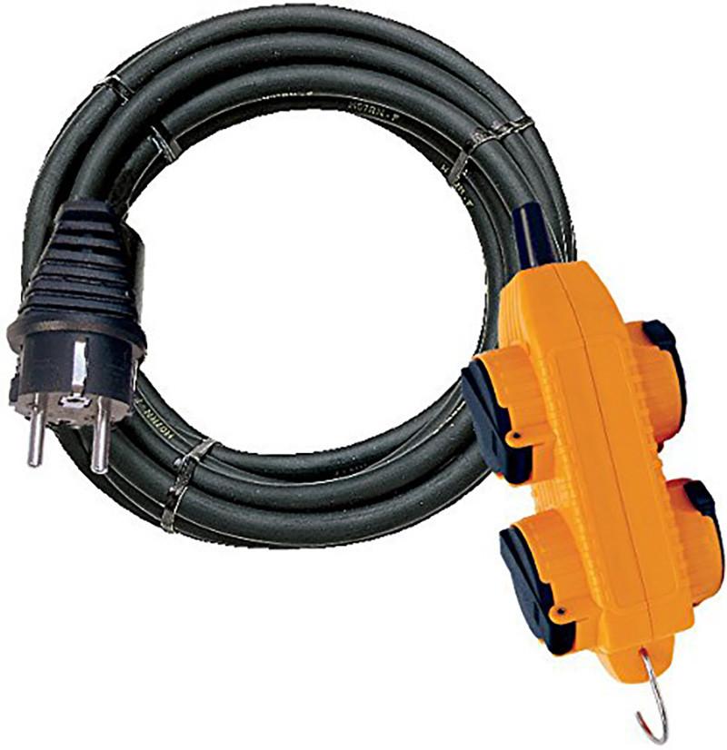 Brennenstuhl Cordon prolongateur Powerblock 10 m, Etanche IP44, Rallonge electrique avec 4 prises à clapet