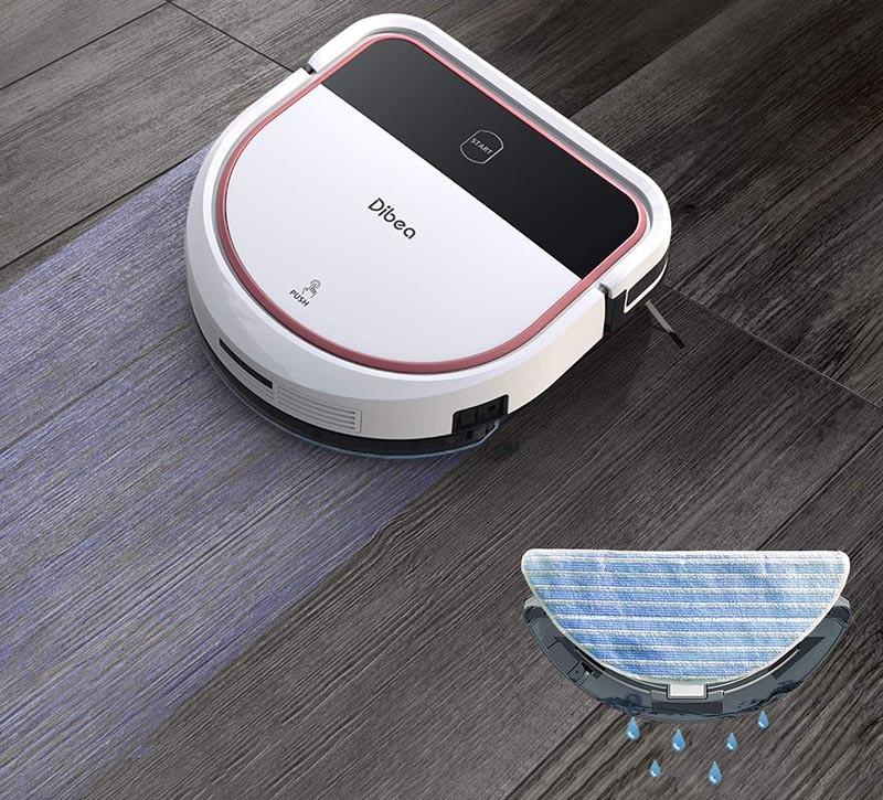 Dibea Aspirateur Robot Laveur de sol Sucer Essuyer 2 in 1