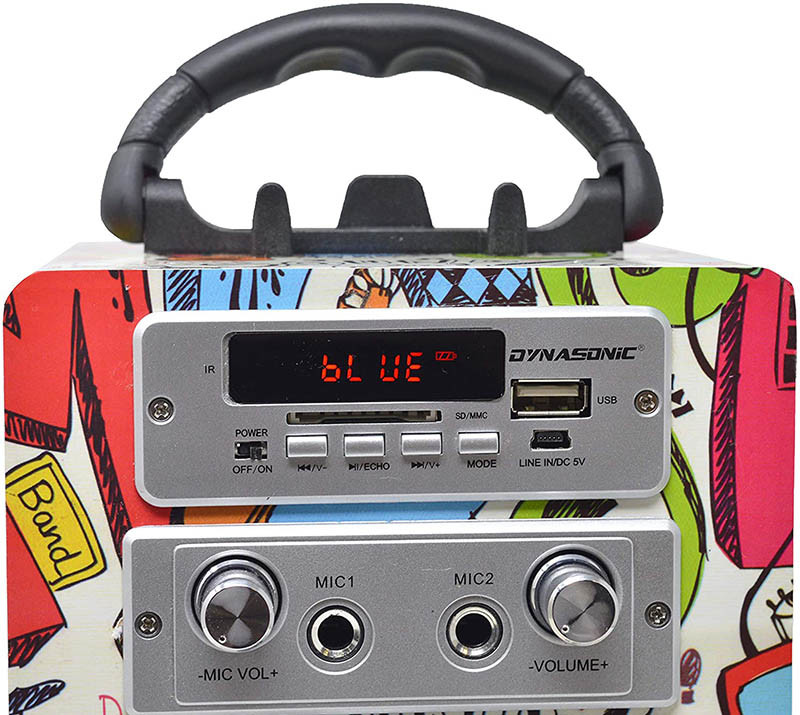 Dynasonic - Enceinte Bluetooth Portable karaoké hautparleur, Microphone inclu, Radio FM, Lecteur USB - SD - Modèle 025-2