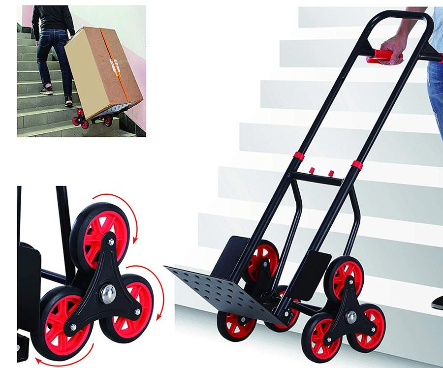 Homcom Diable pour escalier 6 Roues Diable Repliable Extensible 150 Kg