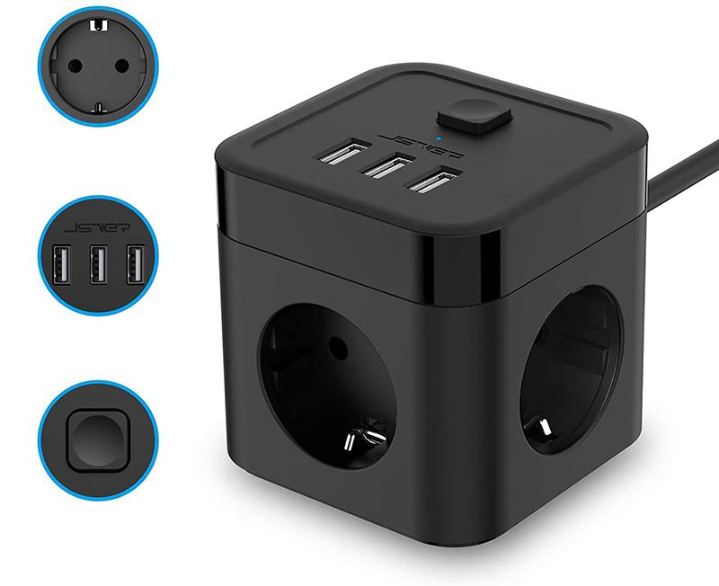 JSVER Cube Multiprise USB 3 Prises avec 3 Ports USB Chargeur de Voyage