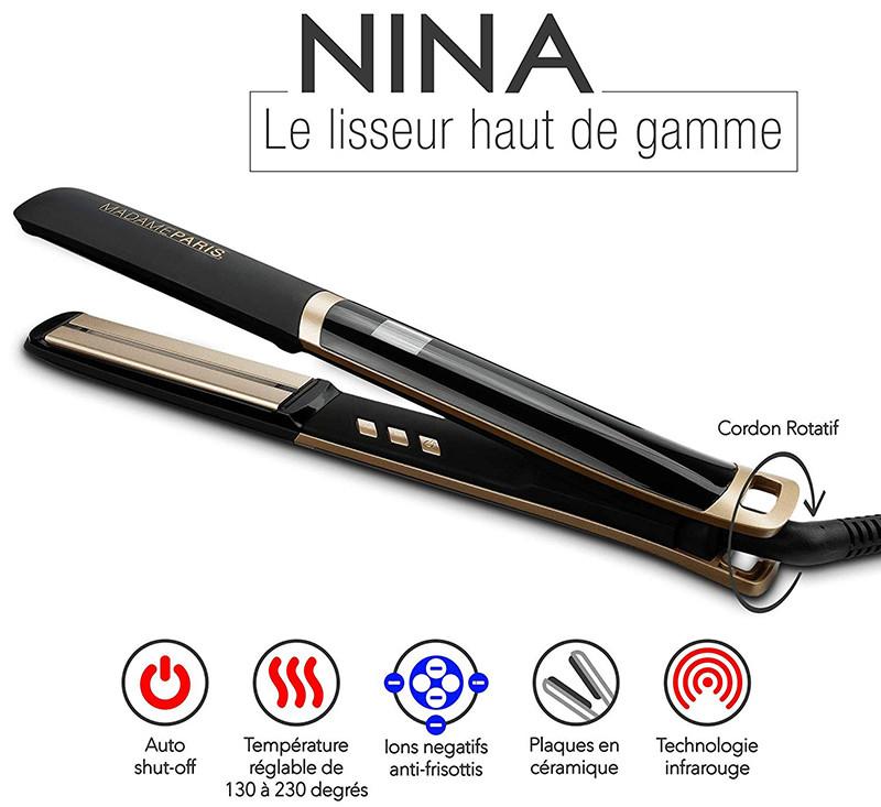 MadameParis - Lisseur Nina- Infrarouge - Fer à Lisser - Lisseur Cheveux Professionnel Plaques en Céramique