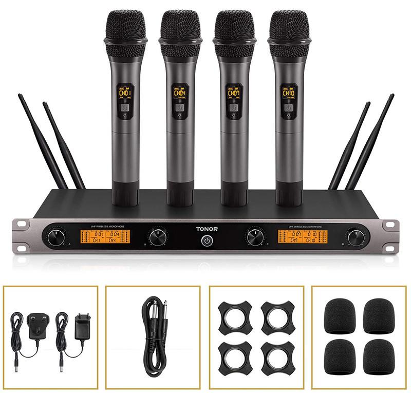 TONOR Microphone sans Fil UHF Ensemble de Karaoké 3 Canaux 4 Micros Professionnel