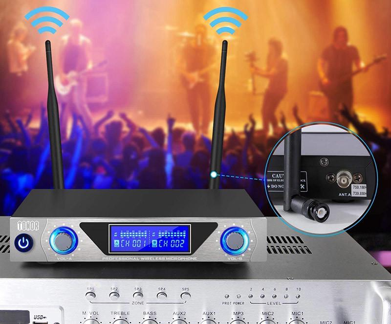 TONOR Microphone sans Fil de Système VHF Portable Micro à Main