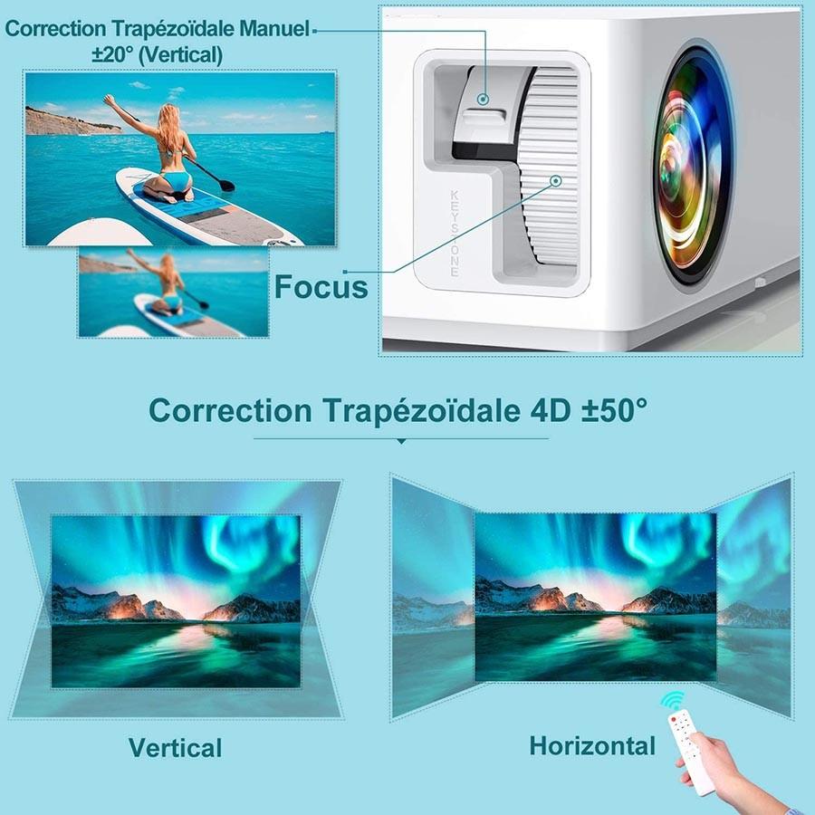 TOPTRO Vidéoprojecteur Bluetooth 7100 LM Projecteur Full HD 1080P