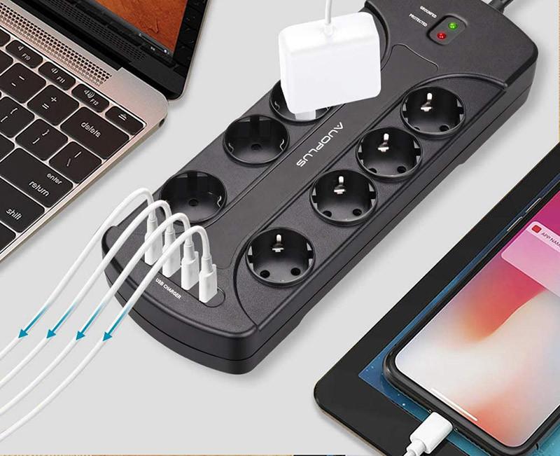 Test Auoplus Multiprise Parasurtenseur Parafoudre avec 8 Prises et 4 Ports USB