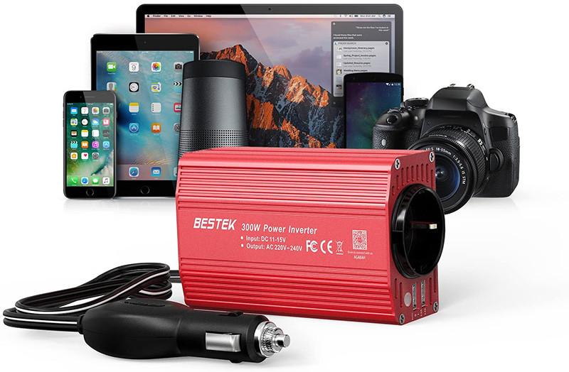 Test - Avis - BESTEK Convertisseur Onduleur Métal 300W 12V 220V à 240V Chargeur Allume-Cigare Transformateur de Courant avec 1 Prise Française et 2 Ports USB pour Voiture Camion - Rouge