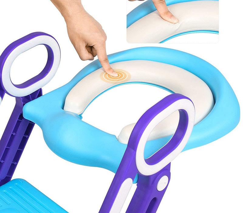 Test - BAMNY Siège de Toilette Enfant Pliable et Réglable, Reducteur de Toilette Bébé avec Marches Larges, Lunette de Toilette Confortable Matériaux de Haute Qualité (Bleu)