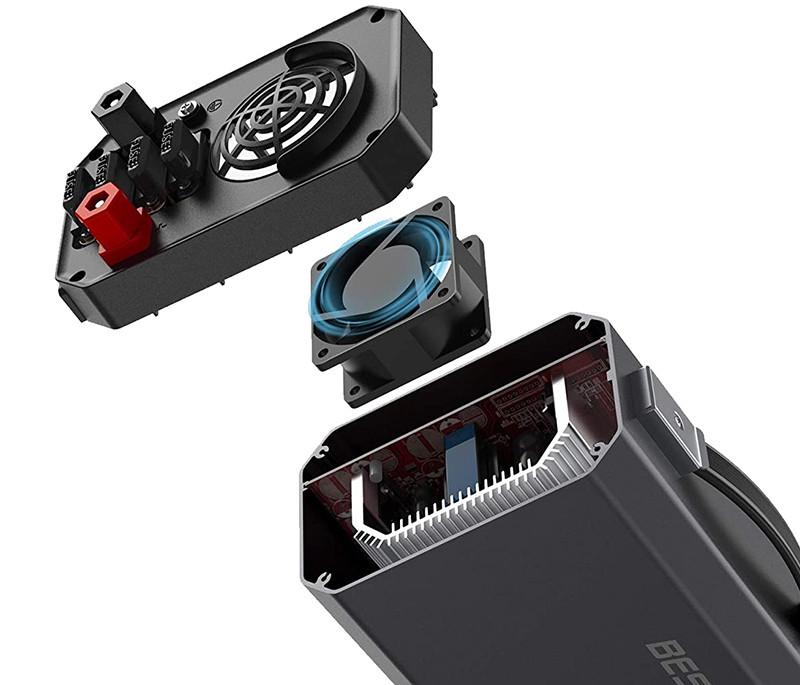 Test - BESTEK Convertisseur 1200W Entrée 11-15V, Sortie 220-240V 50HZ Onduleur de Voiture avec 2 Ports USB 4.2A Affichage de la Lumière LCD et 4 Fusibles