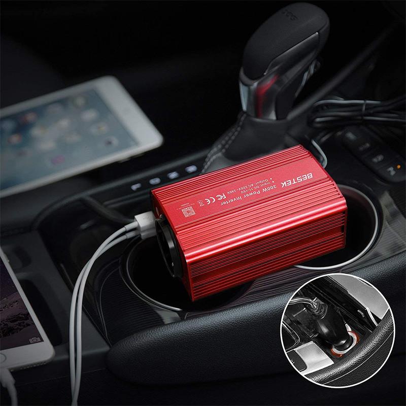 Test - BESTEK Convertisseur Onduleur Métal 300W 12V 220V à 240V Chargeur Allume-Cigare Transformateur de Courant avec 1 Prise Française et 2 Ports USB pour Voiture Camion - Rouge