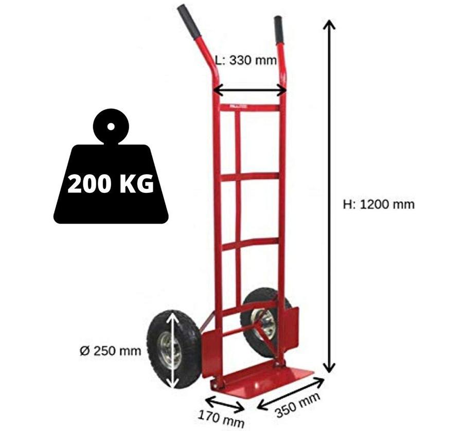 Test Diable de transport économique avec roues pneumatiques - charge 200 kg