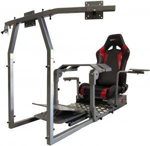 Test - GTR Simulator - Modèle GTA-Pro - Simulateur de course à domicile, poste de travail avec véritable siège de course (noir) et supports de contrôle pour la conduite et le vol, simulateur de jeu.