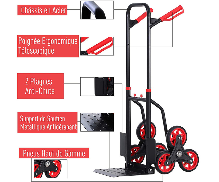 Test Homcom Diable pour escalier 6 Roues Diable Repliable Extensible 150 Kg