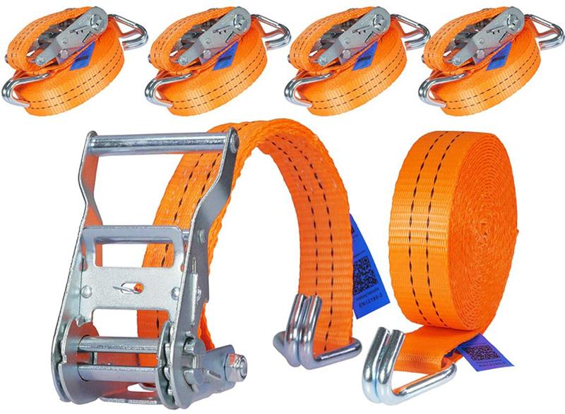 Test - Industrie Planet 4 pièces 2000kg 6m Sangle à cliquet Sangle d'arrimage avec crochet tendeur