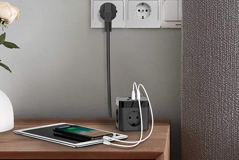 Test JSVER Cube Multiprise USB 3 Prises avec 3 Ports USB Chargeur de Voyage