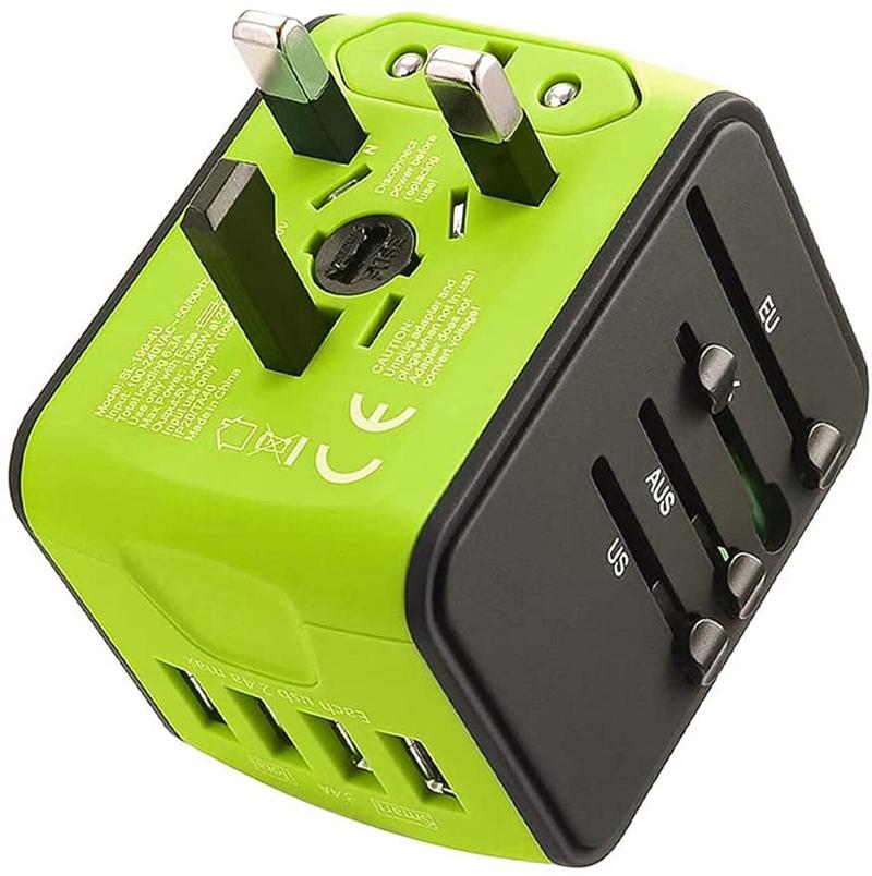 Test - LEDLUX ESE026 Adaptateur de Voyage Universel avec Prise EU UK USA AUS CN avec 4 Chargeur USB