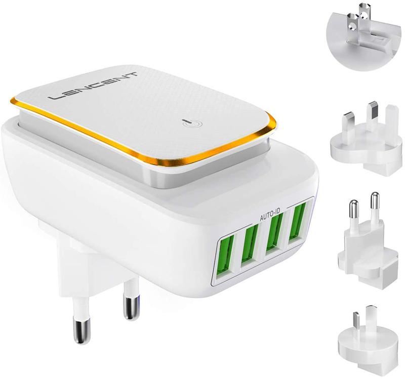 Test - LENCENT Chargeur USB Multiple et Veilleuse LED, 4 Ports Prise USB Secteur Internationale