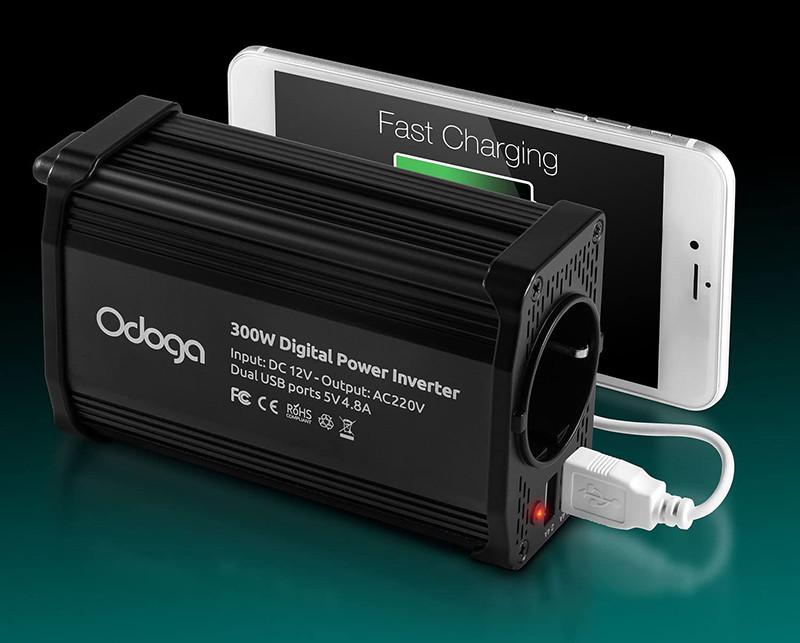 Test - Odoga Convertisseur Transformateur Chargeur pour Voiture 300W 12V 220V-240V Onduleur DCAC avec Ports De Charge USB Double 4.8A - Rechargez Votre Ordinateur Portable, Ipad, Iphone, Tablette et Plu
