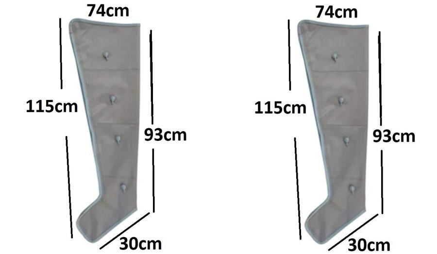 Test Pressothérapie professionnelle XXL avec deux très grandes jambes, deux bras et une taille