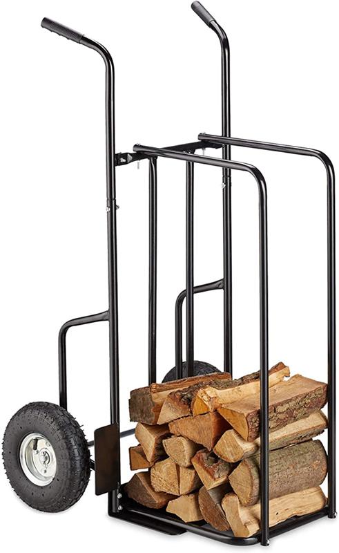 Test - Relaxdays Chariot cheminée XL en métal, avec 2 Grosses Roues