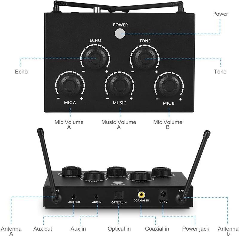 Test Rybozen Machine de karaoké Portable, avec Deux Micro sans Fil et récepteur - mixeur de Micro UHF Deux en Un