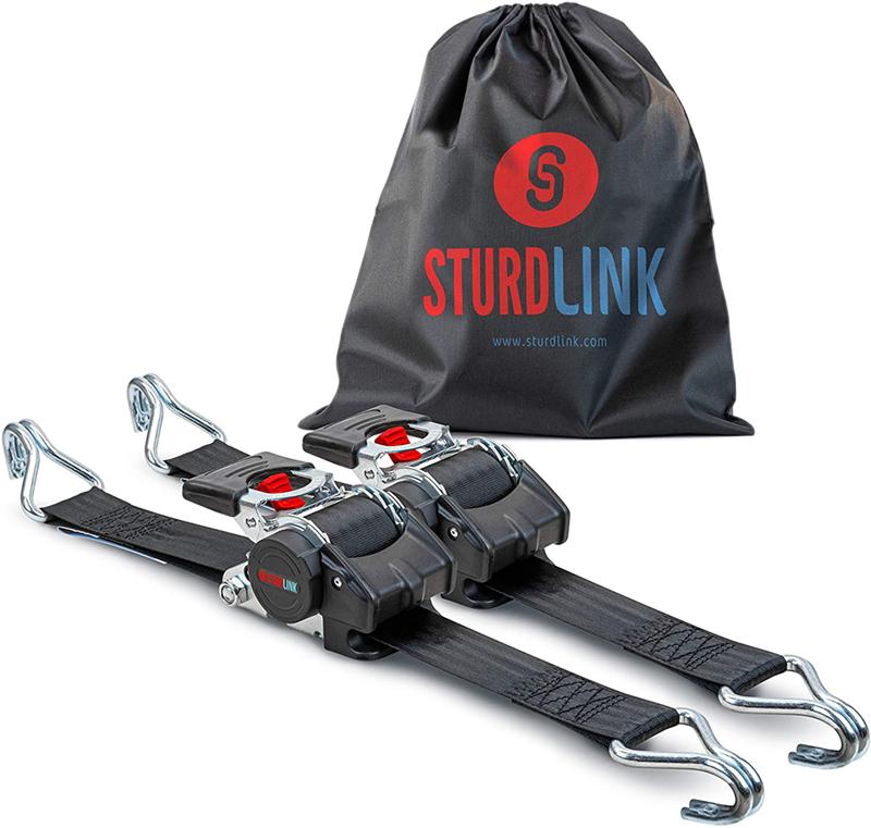 Test - Sturdlink Lot de 2 Sangles d'arrimage à Cliquet 50mm avec Enrouleur de Sangle Automatique Longueur 3 m LC 750daN