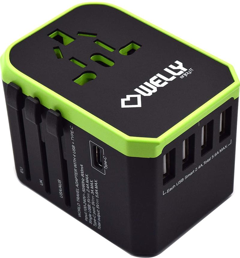 Test - Welly Enjoy IT WY13105 – Adaptateur de Voyage Universel avec Prises EU, UK, US, AU, 4 Ports USB