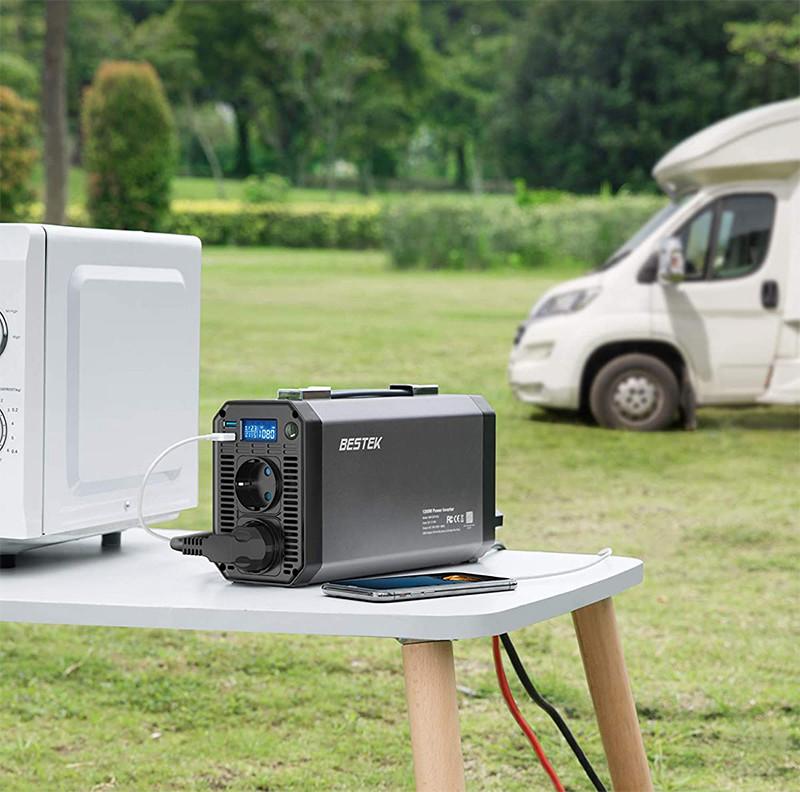 Test et Avis - BESTEK Convertisseur 1200W Entrée 11-15V, Sortie 220-240V 50HZ Onduleur de Voiture avec 2 Ports USB 4.2A Affichage de la Lumière LCD et 4 Fusibles