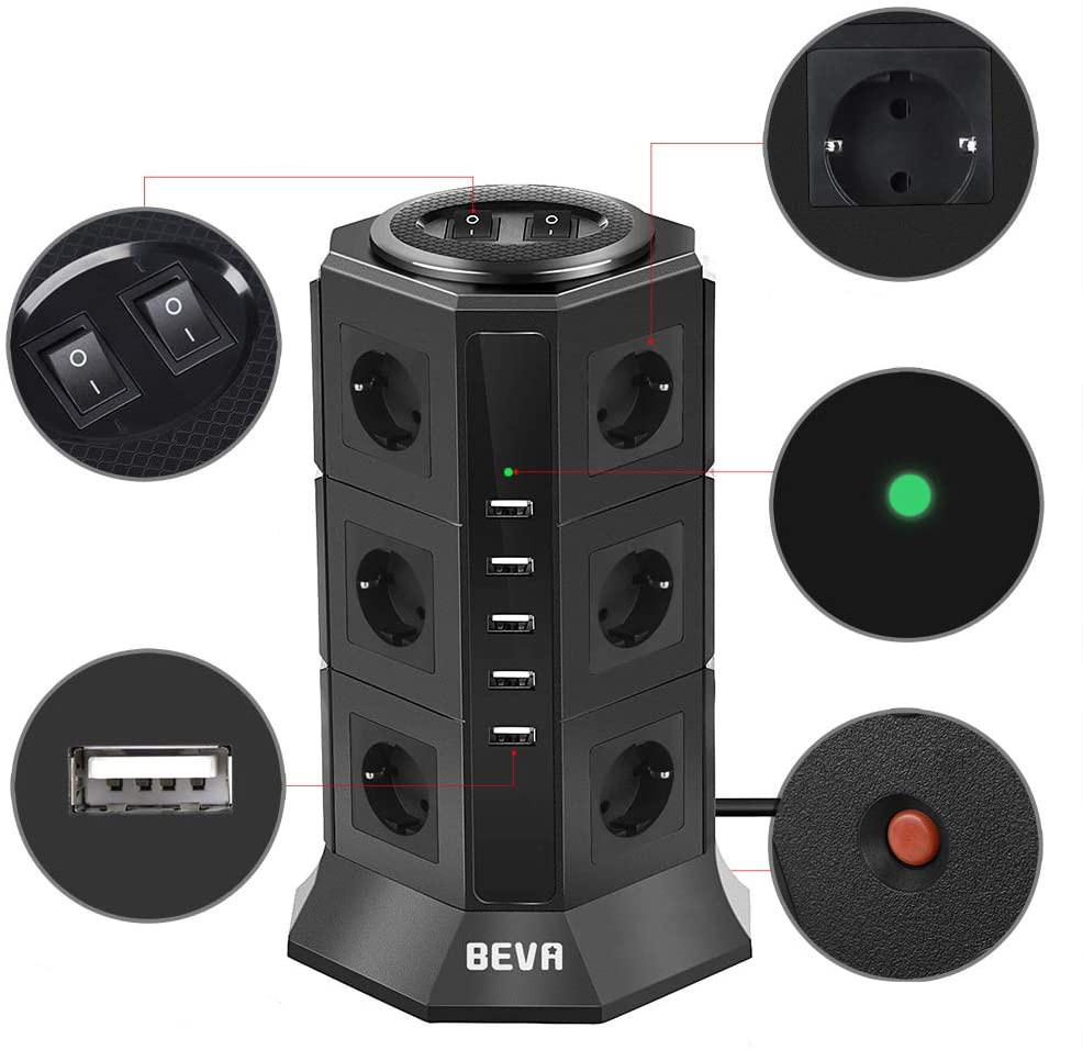 Test et Avis BEVA Tour Multiprise Parasurtenseur Parafoudre avec 12 Prises et 5 USB