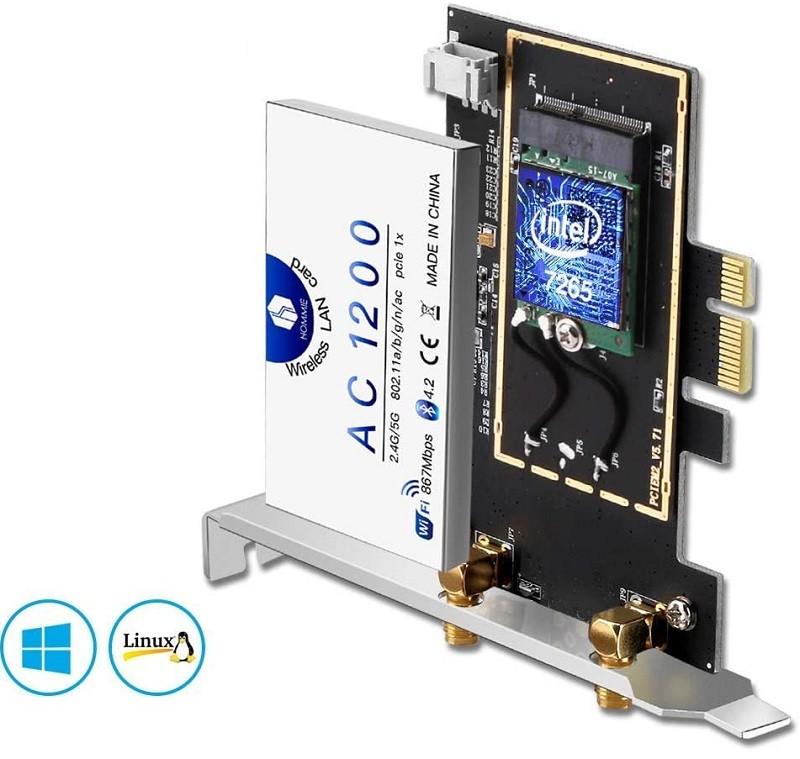 Test et Avis - Hommie Carte Réseau Wi-FI avec Bluetooth 4.2 Adaptateur PCI Express Double Bande 5GHz sans Fil Intel 7265 AC 1200Mbps Carte WiFi PCIE Wireless pour