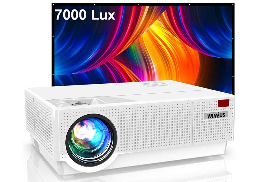 Vidéoprojecteur WiMiUS 7000 Lumens Vidéoprojecteur Full HD 1080P Rétroprojecteur 4K Soutien
