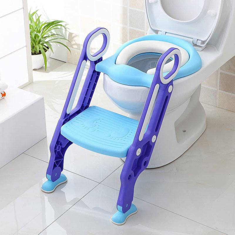 avis - BAMNY Siège de Toilette Enfant Pliable et Réglable, Reducteur de Toilette Bébé avec Marches Larges, Lunette de Toilette Confortable Matériaux de Haute Qualité (Bleu)