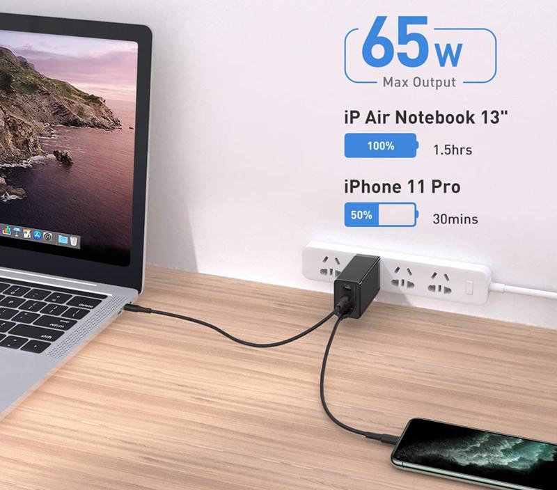 avis - Baseus USB C Chargeur Rapide Secteur PD 65W Gan Tech Power Delivery