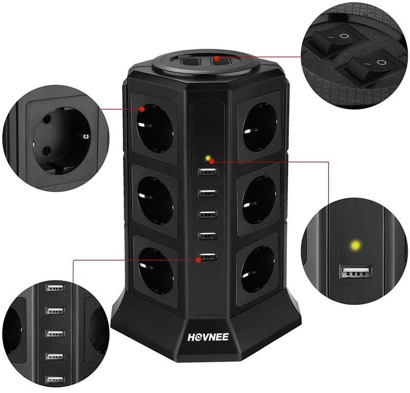 avis HOVNEE Tour Multiprise Multi Prises Électriques avec 12 Prises 5 Ports USB