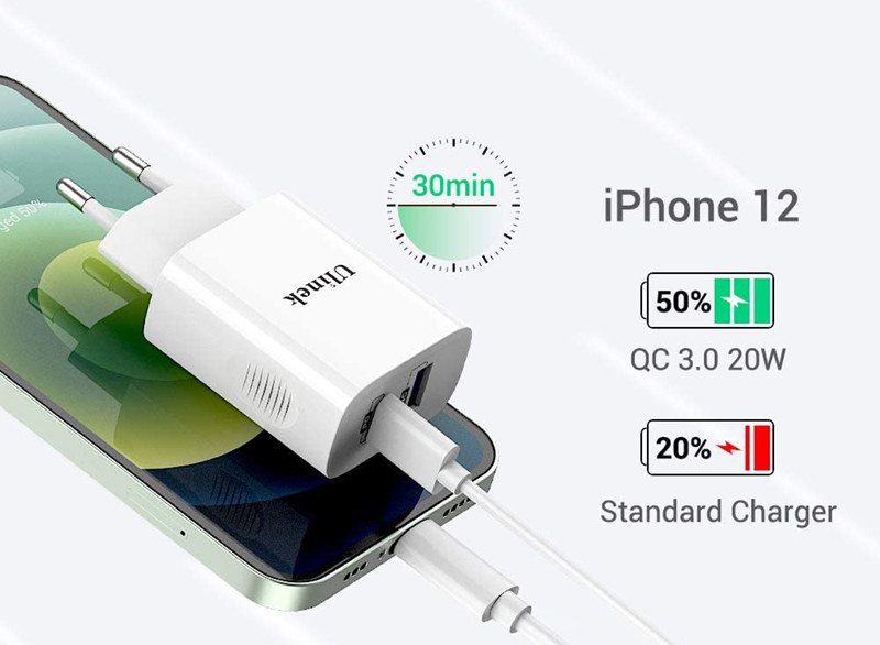 avis - Ulinek 20W Chargeur Rapide iPhone 2 Ports USB C & A avec 2m Câble MFi USB C vers Lightning