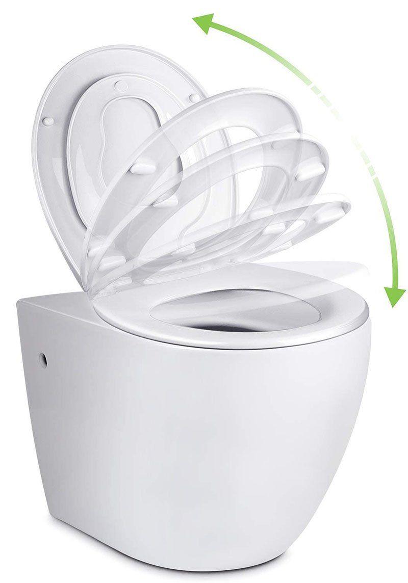 test - Amzdeal Abattant WC fermeture en douceur, Lunette de Toilette à descente lente avec Frein de Chute, Réduction du Bruit, Siège de toilette familial avec siège pour enfant AmovibleForme de O