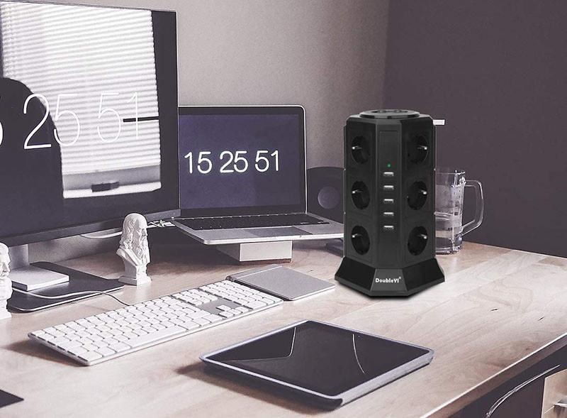 test DoubleYI Tour Multiprise Parasurtenseur Parafoudre 12 Prises avec 5 USB 4,5A Ports