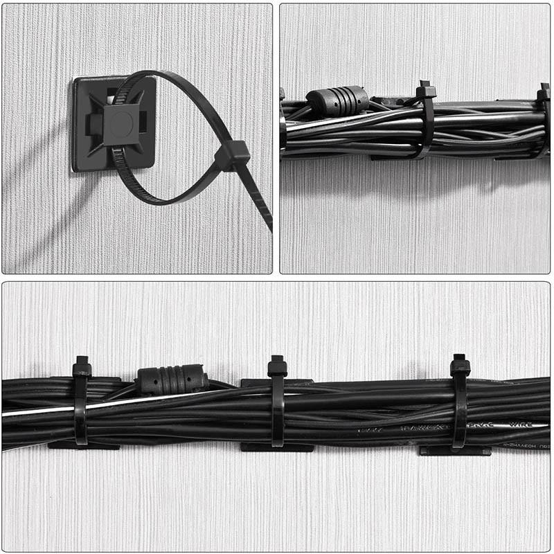test et avisPaquet de 100 Zip Tie Adhésifs Supports Auto-Adhésifs Supports de Base de Serre-Câbles avec Attache-Câble Universel